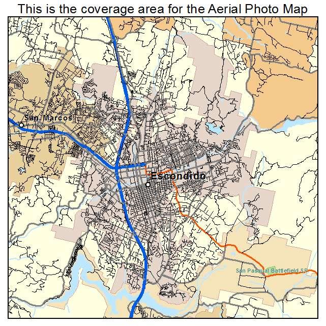 Aerial Photography Map of Escondido CA California