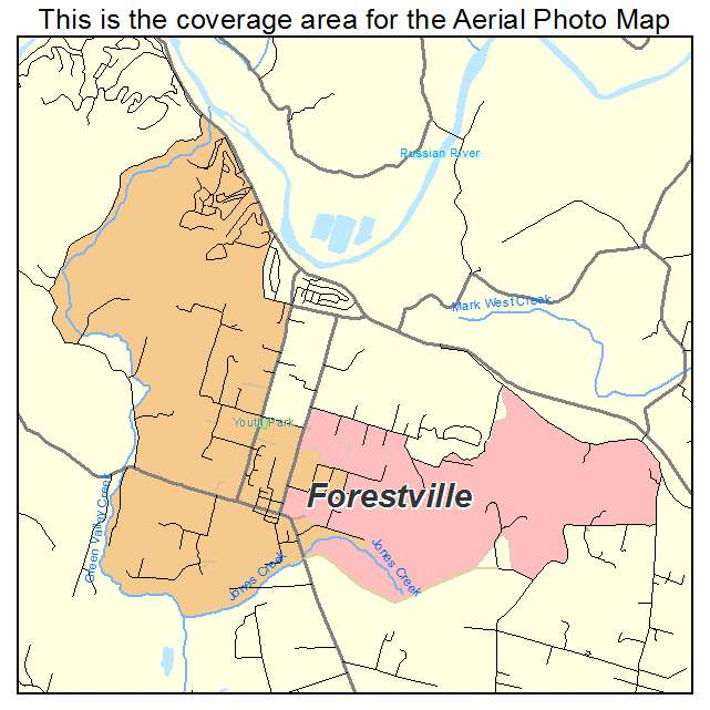 aerial photography map of forestville ca california. Black Bedroom Furniture Sets. Home Design Ideas