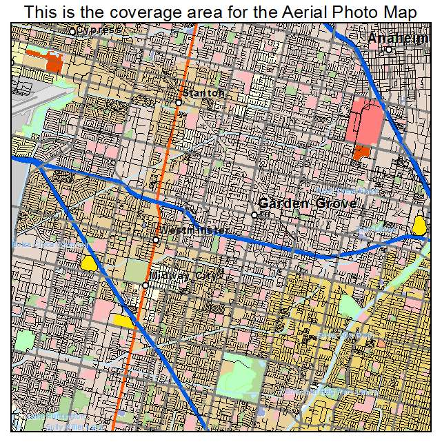 Aerial photography map of garden grove ca california - Where is garden grove california ...
