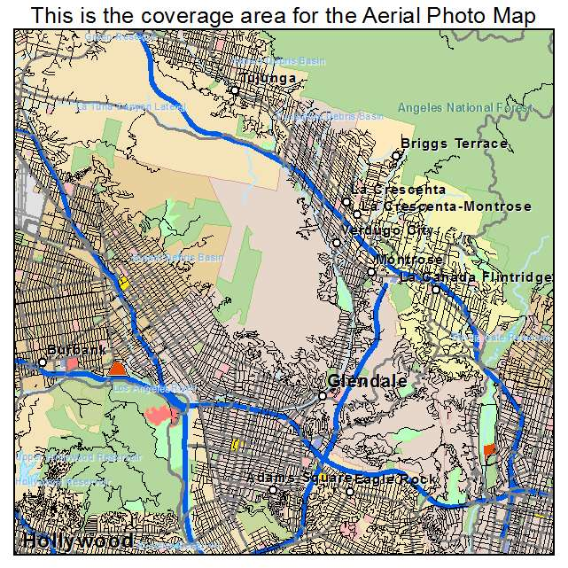 Aerial Photography Map Of Glendale CA California