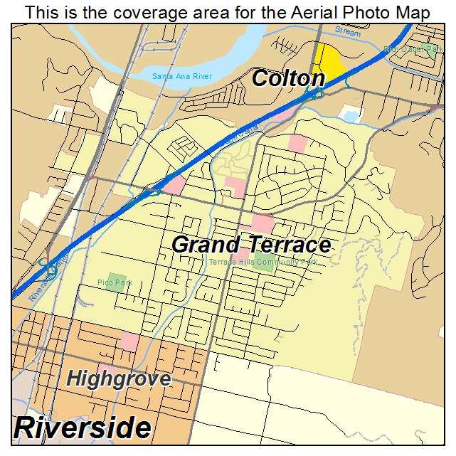Aerial photography map of grand terrace ca california for The terrace location