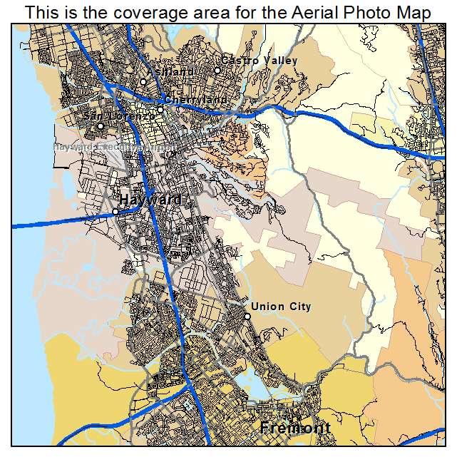 Aerial Photography Map Of Hayward CA California