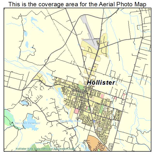 Aerial Photography Map Of Hollister CA California