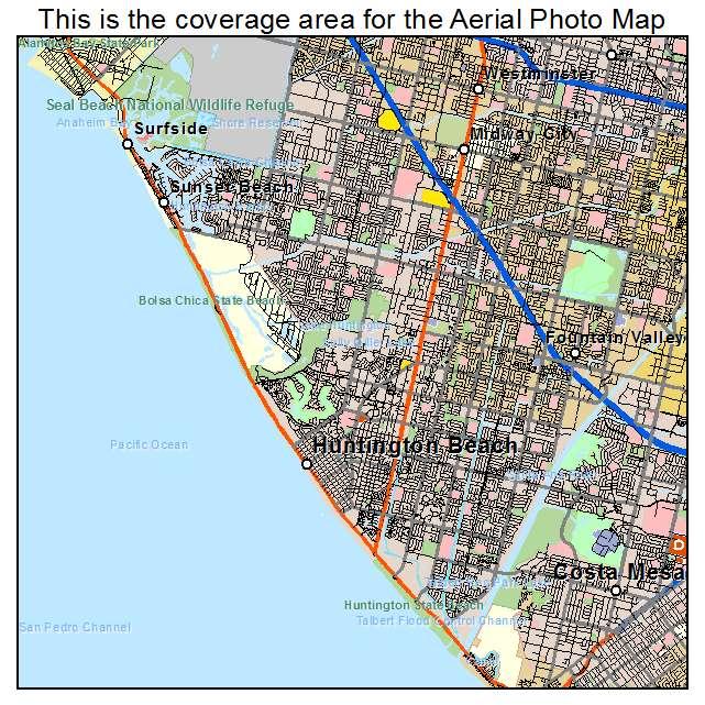Aerial Photography Map of Huntington Beach CA California
