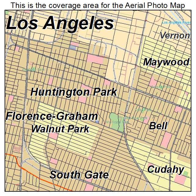 Aerial Photography Map of Huntington Park CA California