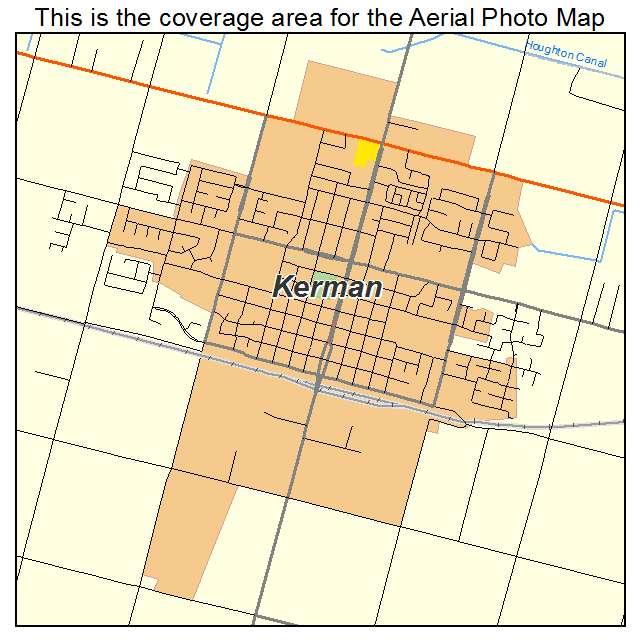 Aerial Photography Map of Kerman CA California