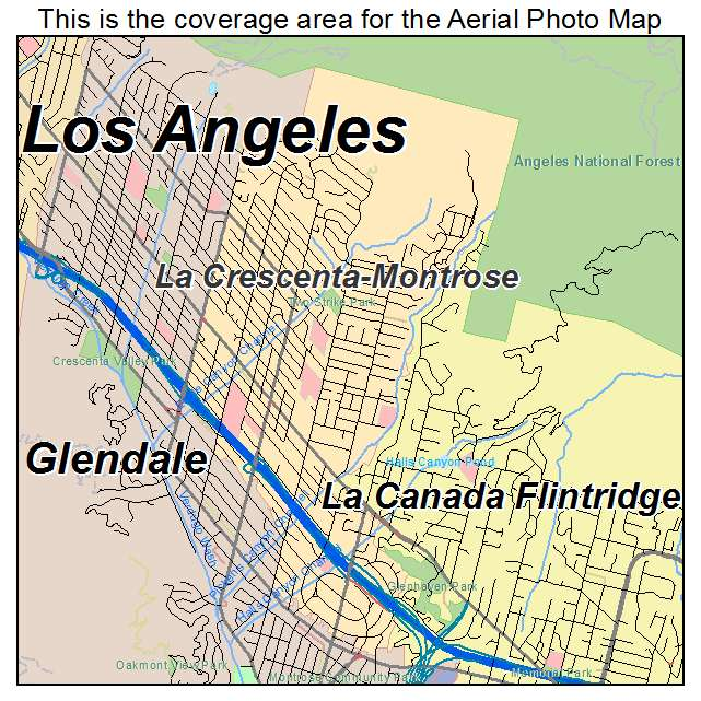 Map Of California La.La Crescenta Montrose Ca California Aerial Photography Map 2014