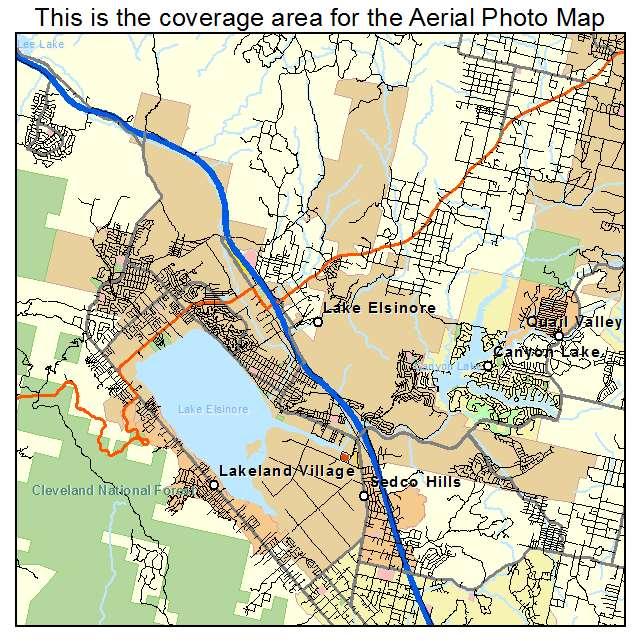 Aerial Photography Map of Lake Elsinore CA California