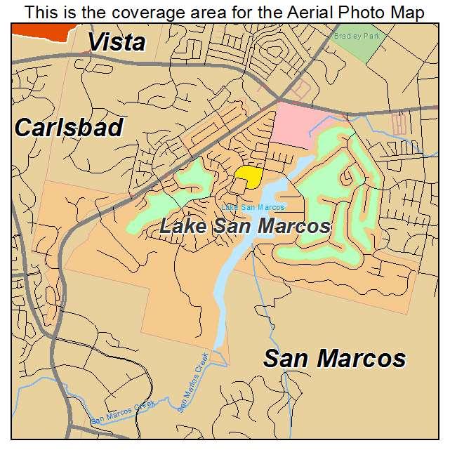 Aerial Photography Map Of Lake San Marcos Ca California