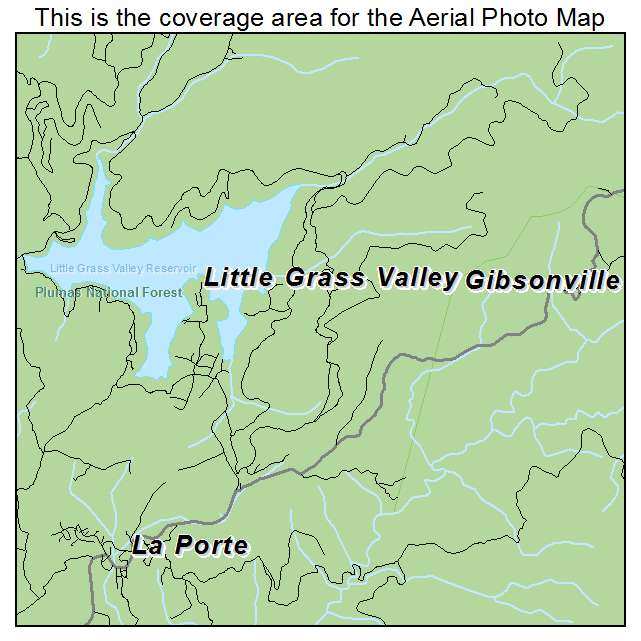 Aerial Photography Map of Little Grass Valley, CA California