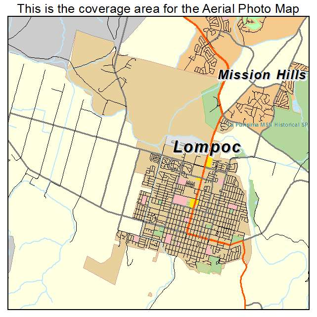 Lompoc California Map Aerial Photography Map of Lompoc, CA California