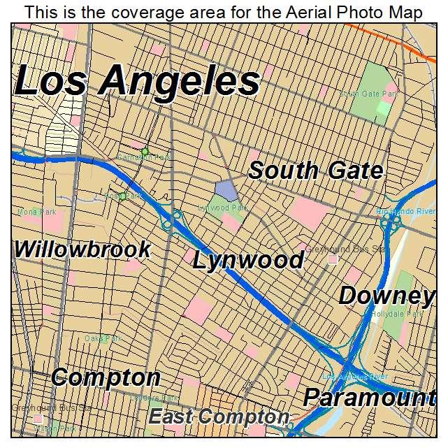 Aerial Photography Map of Lynwood CA California