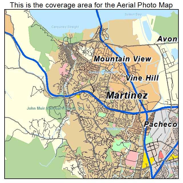 Aerial Photography Map of Martinez CA California