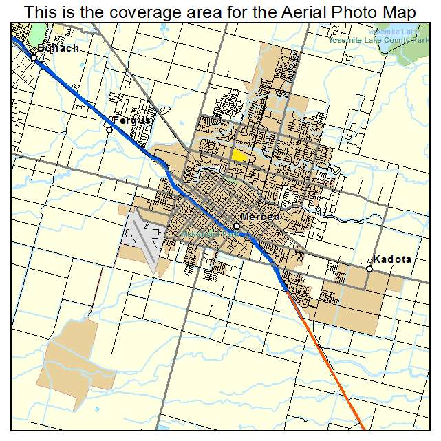 Aerial Photography Map of Merced CA California