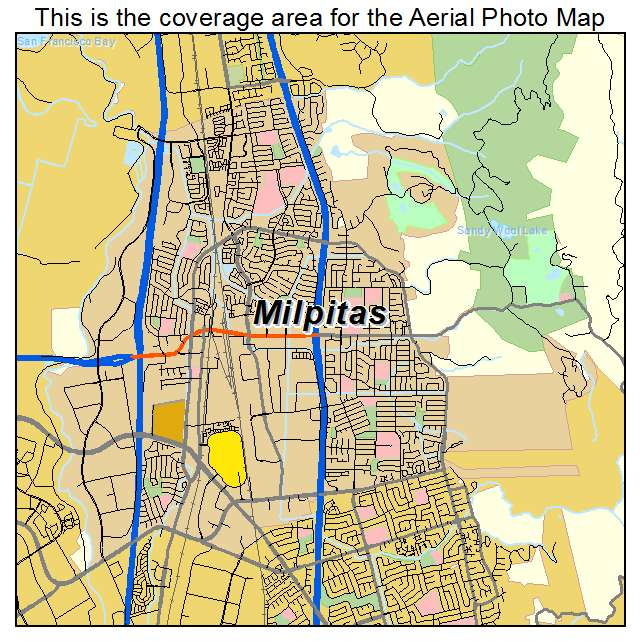 Aerial Photography Map of Milpitas CA California