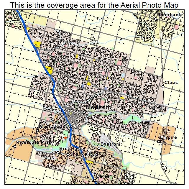 Aerial Photography Map Of Modesto CA California - California map modesto