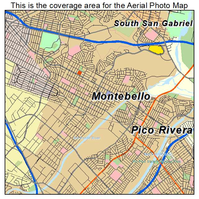 Aerial Photography Map of Montebello CA California