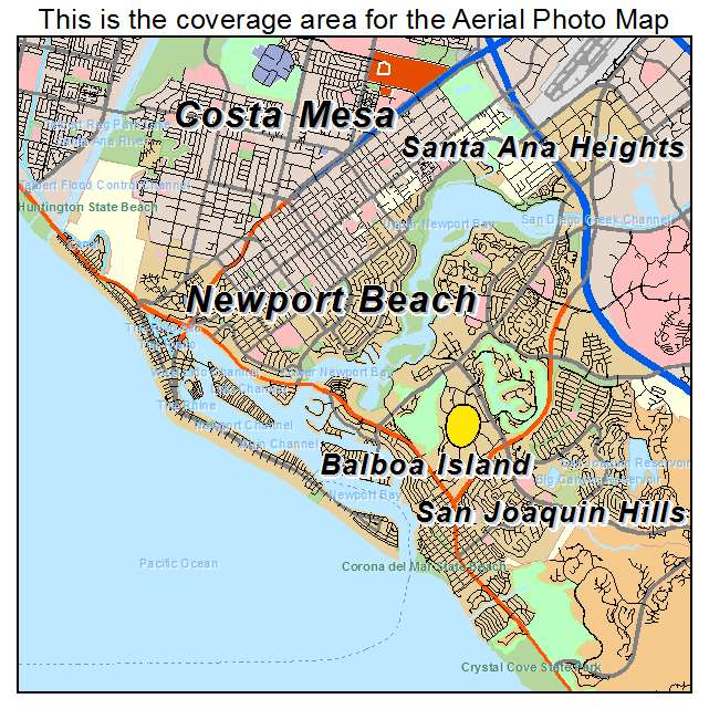 Aerial graphy Map of Newport Beach CA California