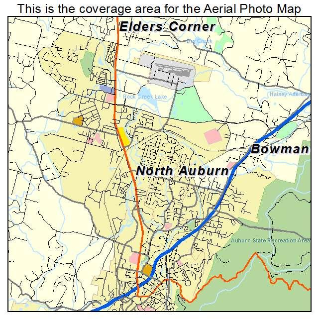 aerial photography map of north auburn ca california