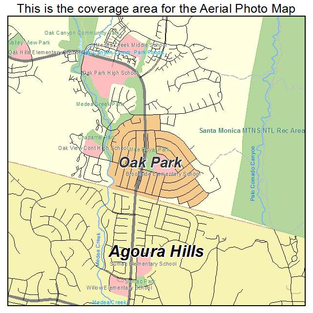 Aerial Photography Map of Oak Park CA California