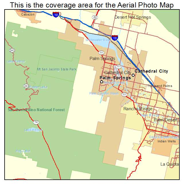 Map Of California Showing Palm Springs.Aerial Photography Map Of Palm Springs Ca California