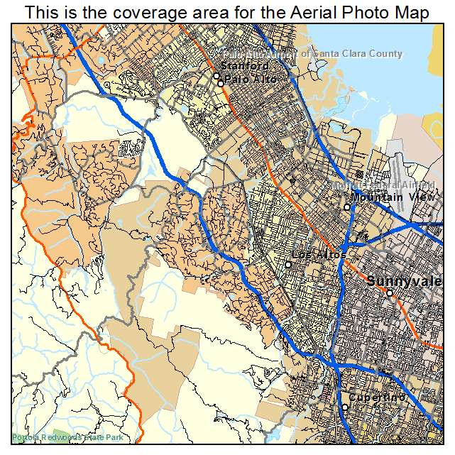 Aerial Photography Map Of Palo Alto CA California