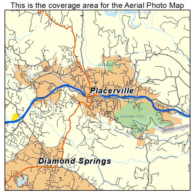 aerial photography map of placerville ca california