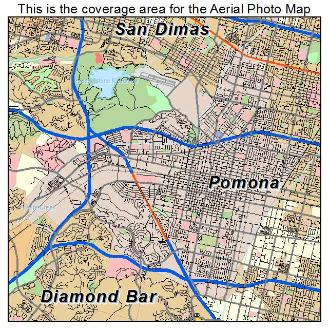 Aerial Photography Map Of Pomona CA California