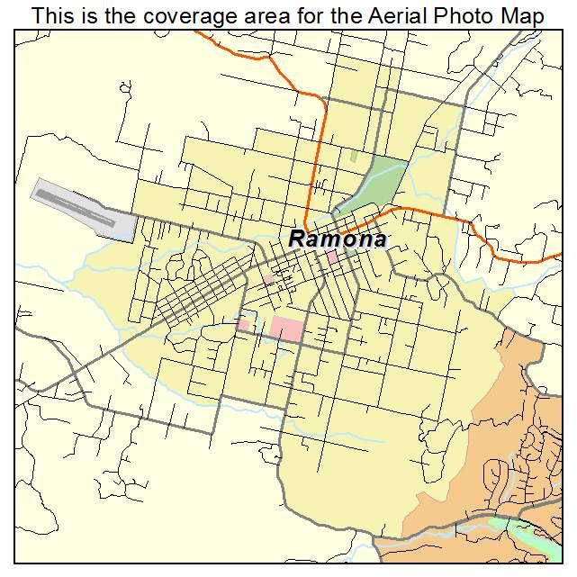 Aerial Photography Map Of Ramona CA California - California map ramona