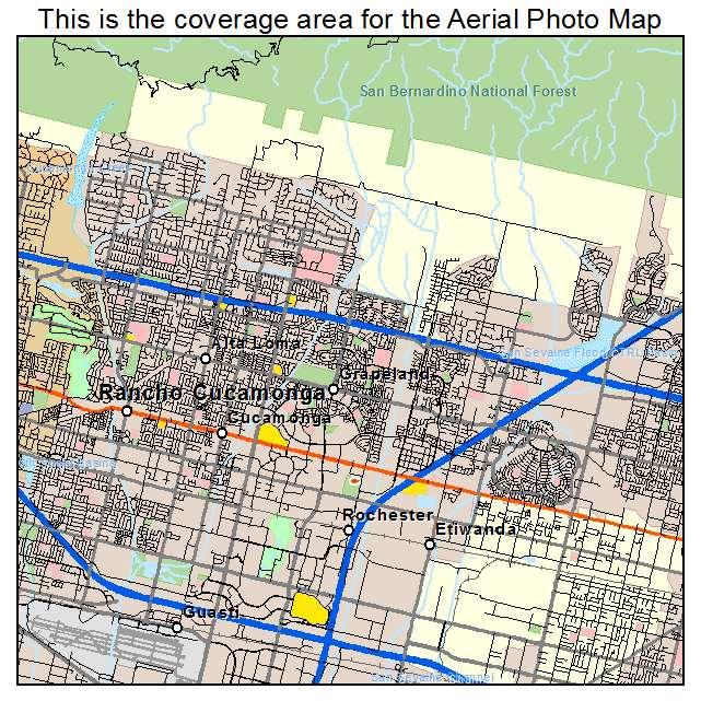 Aerial Photography Map of Rancho Cucamonga CA California