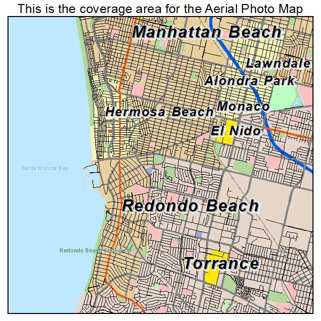 Aerial Photography Map of Redondo Beach CA California