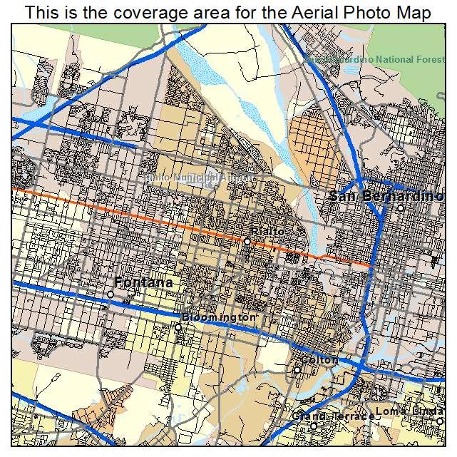 Aerial Photography Map of Rialto CA California