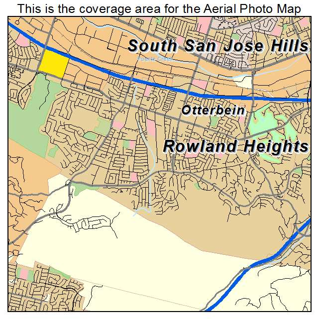 Aerial Photography Map Of Rowland Heights Ca California