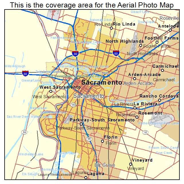 Aerial Photography Map Of Sacramento CA California