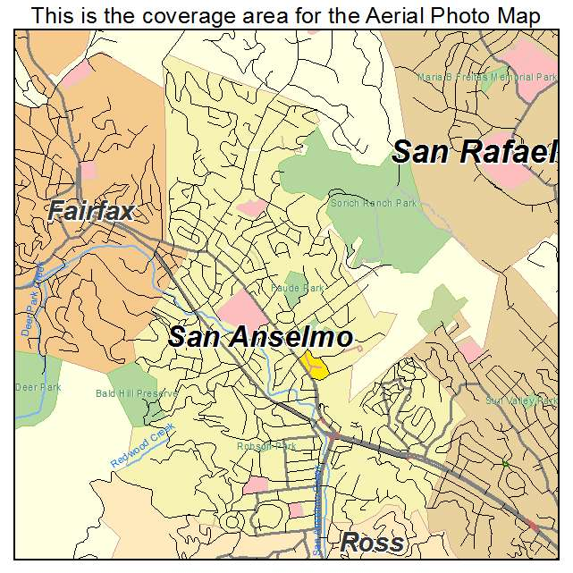 Aerial Photography Map of San Anselmo, CA California