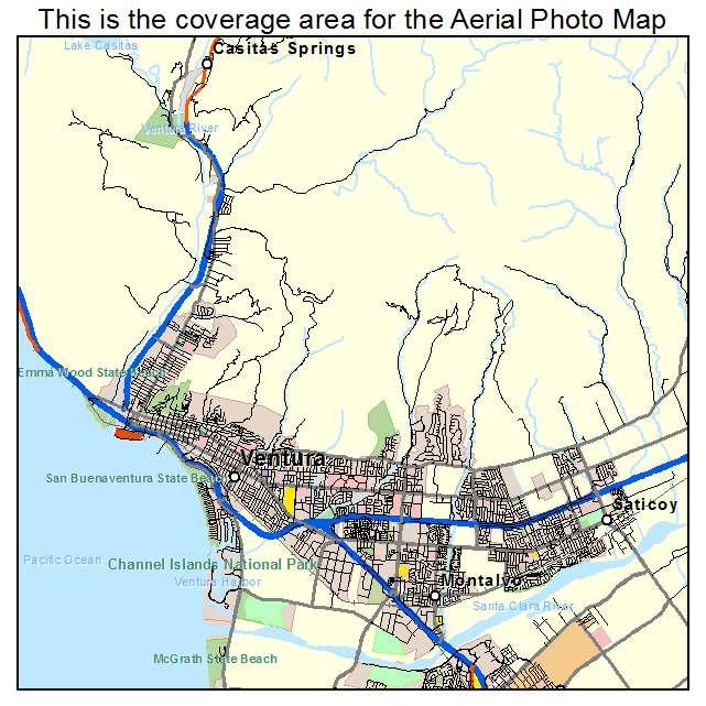 Aerial Photography Map of San Buenaventura Ventura CA California