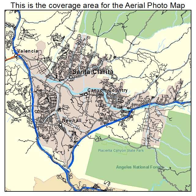 California Map Santa Clarita.Santa Clarita Ca California Aerial Photography Map 2014
