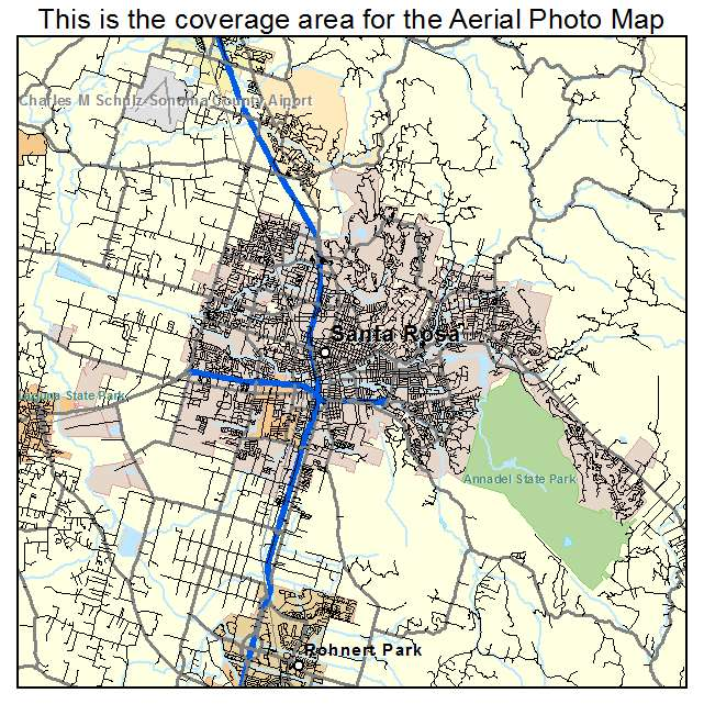 Aerial Photography Map of Santa Rosa CA California