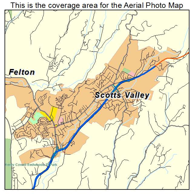 Aerial Photography Map of Scotts Valley, CA California