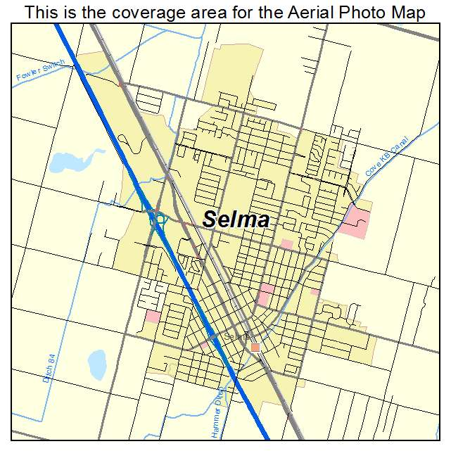 Aerial Photography Map of Selma, CA California