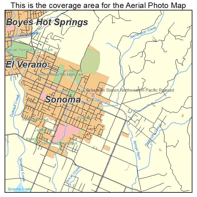Aerial Photography Map Of Sonoma CA California