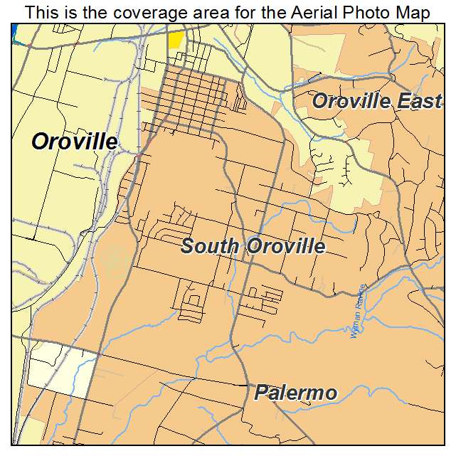 Aerial Photography Map Of South Oroville Ca California
