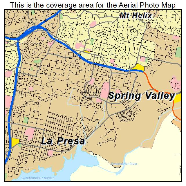 Aerial Photography Map of Spring Valley CA California