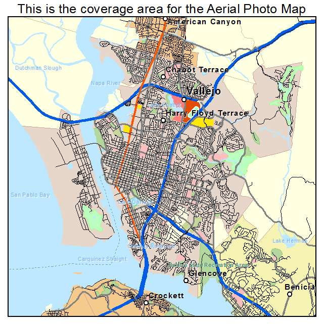 Aerial Photography Map of Vallejo CA California