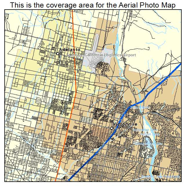 Aerial Photography Map of Victorville CA California