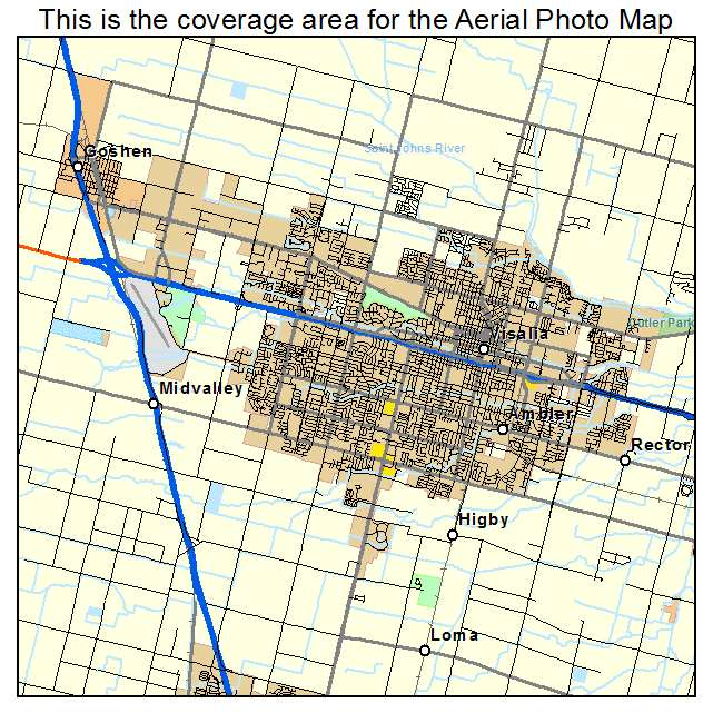Aerial graphy Map of Visalia CA California