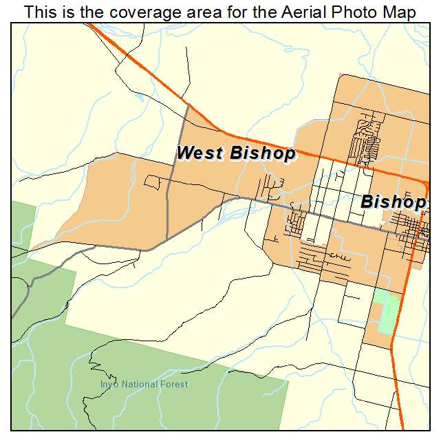 Aerial Photography Map Of West Bishop CA California