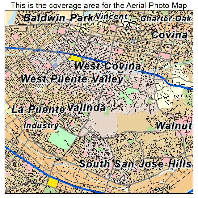 Aerial Photography Map of West Covina CA California
