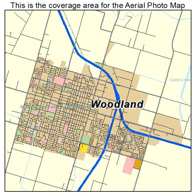 Aerial Photography Map of Woodland CA California