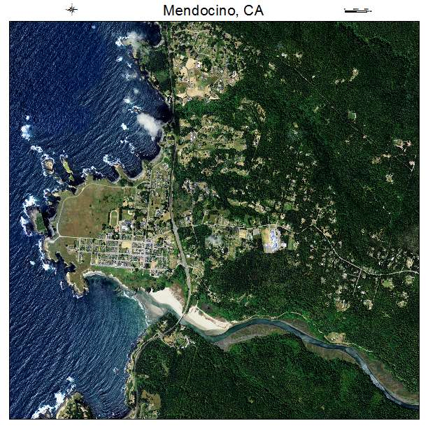 Mendocino, CA air photo map